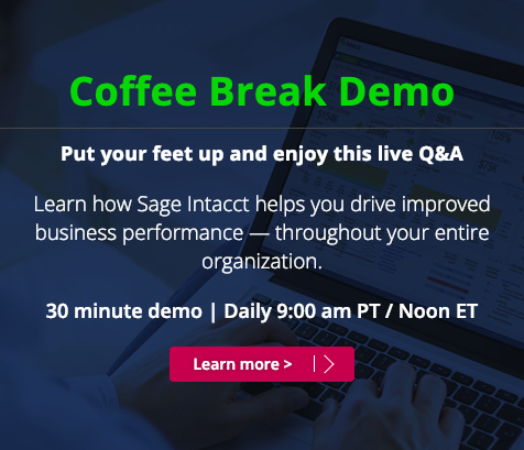 Sage Intacct - AcctTwo Cloud Accounting On Demand ERP - Coffee Break Daily Demo