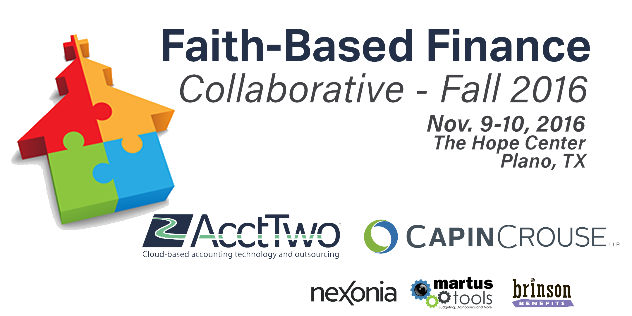 Join Us for the Faith-Based Finance Collaborative - Nov. 9-10 in Plano, TX